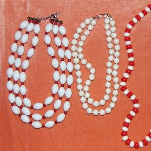 Vintage 1980s Red & White Necklace Lot